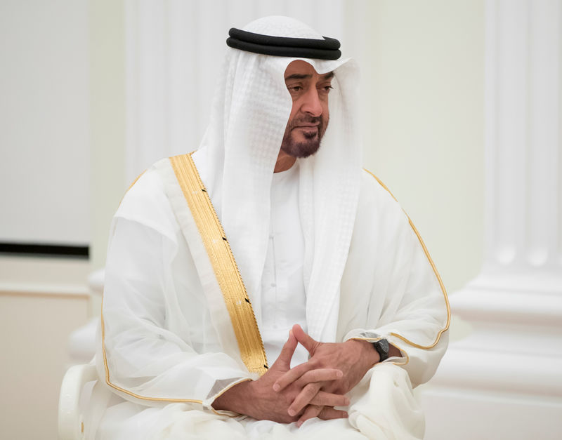 © Reuters. FILE PHOTO: Abu Dhabi's Crown Prince Sheikh Mohammed bin Zayed al-Nahyan of the United Arab Emirates attends a meeting with Russian President Vladimir Putin in Moscow