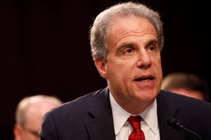 © Reuters. FILE PHOTO: Justice Department Inspector General Michael Horowitz testifies during a Judiciary Committee hearing into alleged Russian meddling in the 2016 election on Capitol Hill in Washington