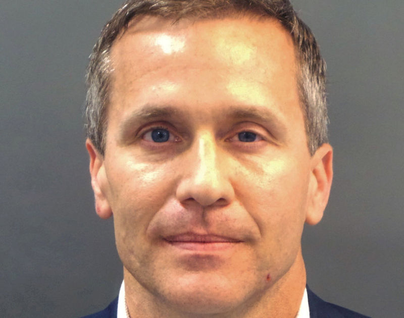 © Reuters. FILE PHOTO: Missouri Governor Eric Greitens appears in a police booking photo in St. Louis