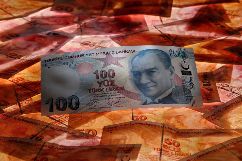 © Reuters. FILE PHOTO: A 100 Turkish lira banknote is seen on top of 50 Turkish lira banknotes in this picture illustration in Istanbul