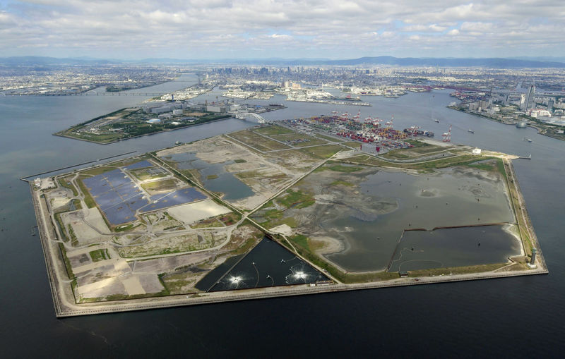 © Reuters. Aerial view of Yumeshima, the proposed site for a casino resort is pictured in Osaka