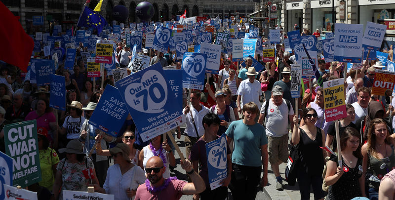 © Reuters. Demonstrators hold placards during a march in support of the National Health Service, in central London