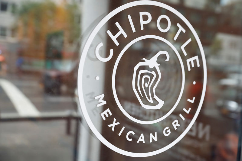 © Reuters. The logo of Chipotle Mexican Grill is seen at the Chipotle Next Kitchen in Manhattan