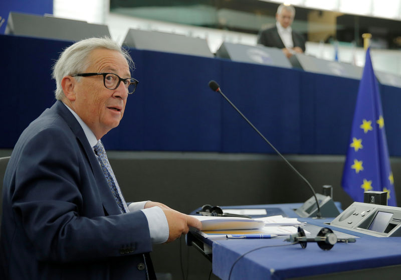 © Reuters. European Commission President Juncker is seen before a debate on The State of the European Union at the European Parliament in Strasbourg