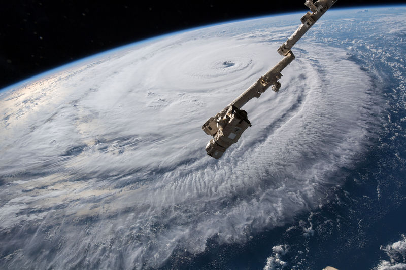 © Reuters. NASA handout photo of a view of Hurricane Florence shown churning in the Atlantic Ocean in a west, north-westerly direction heading for the eastern coastline of the United States