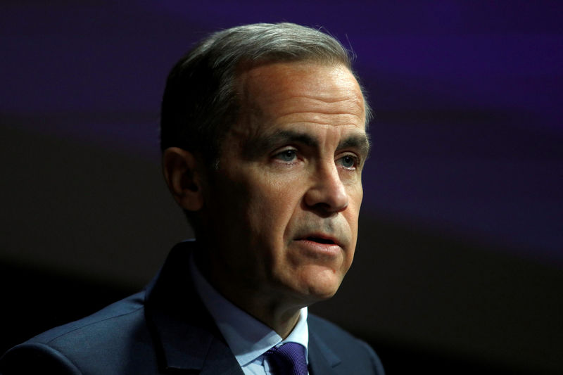 © Reuters. FILE PHOTO: The Governor of the Bank of England, Mark Carney, speaks to the Scottish Economics Forum, via a live feed, in central London