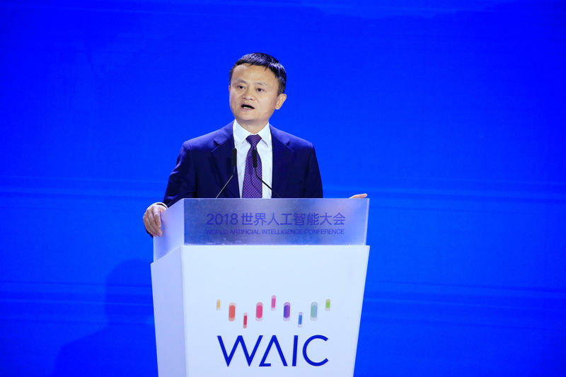 © Reuters. Alibaba Group's Jack Ma attends the WAIC in Shanghai