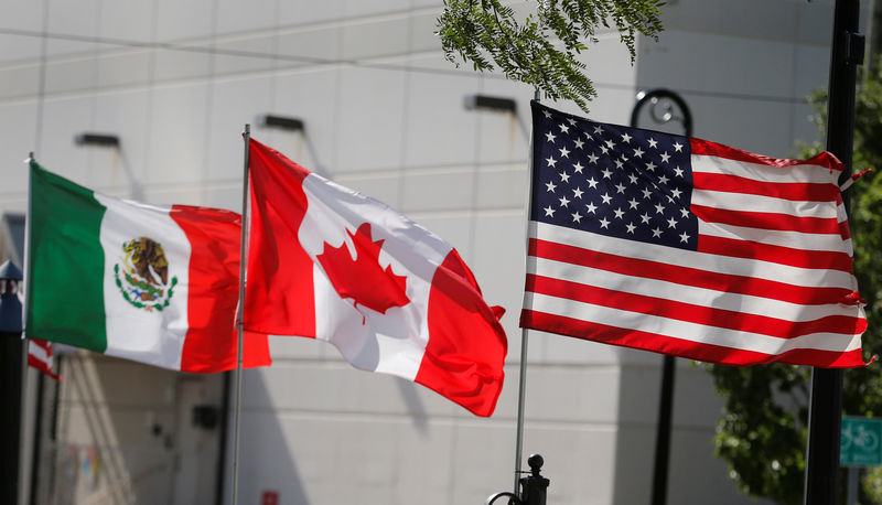 © Reuters. FILE PHOTO: Flags of the U.S., Canada and Mexico fly next to each other in Detroit, Michigan