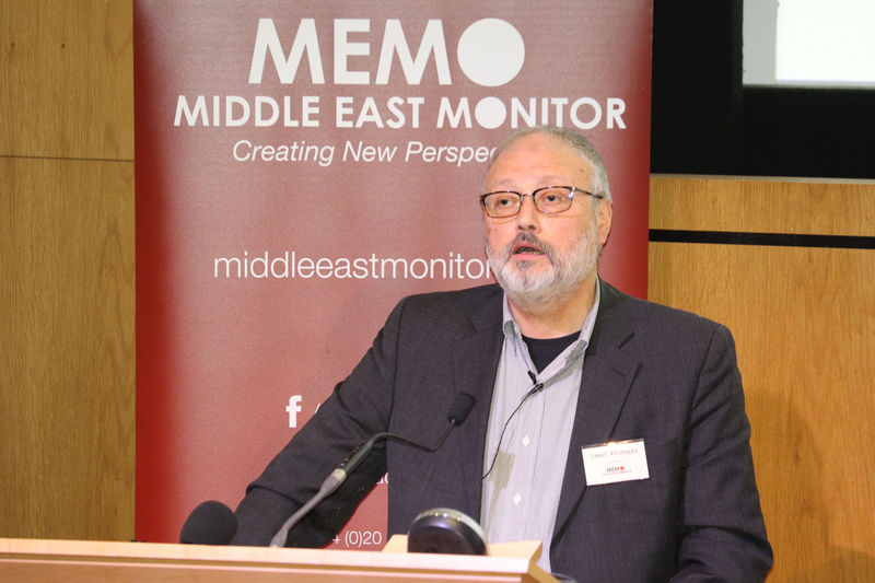 © Reuters. Saudi dissident Jamal Khashoggi speaks at an event hosted by Middle East Monitor in London