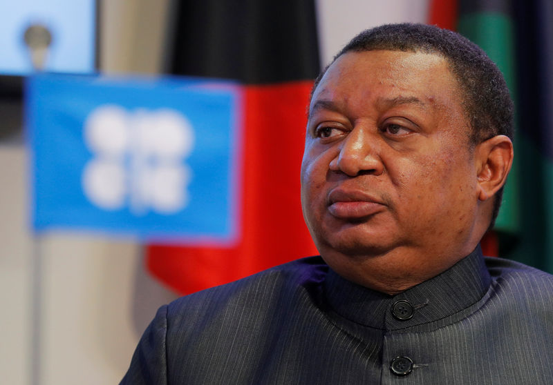 © Reuters. OPEC Secretary-General Barkindo listens during a news conference in Vienna