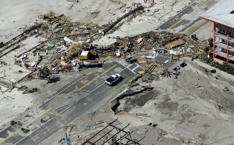 © Reuters. Aerial photo shows debris from homes destroyed blocking a road after Hurricane Michael smashed into Florida's northwest coast in Mexico Beach