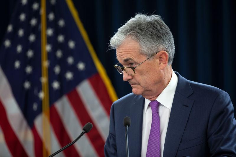 © Reuters. El presidente de la Reserva Federal, Jerome Powell, durante una rueda de prensa en Washington. Imagen de archivo