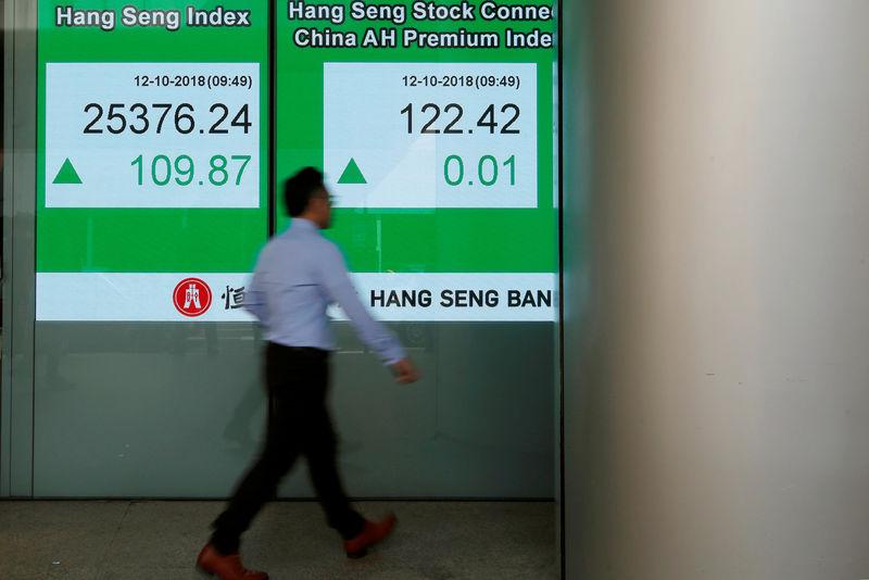 © Reuters. Эксран с котировками индекса Hang Seng около банка в Гонконге
