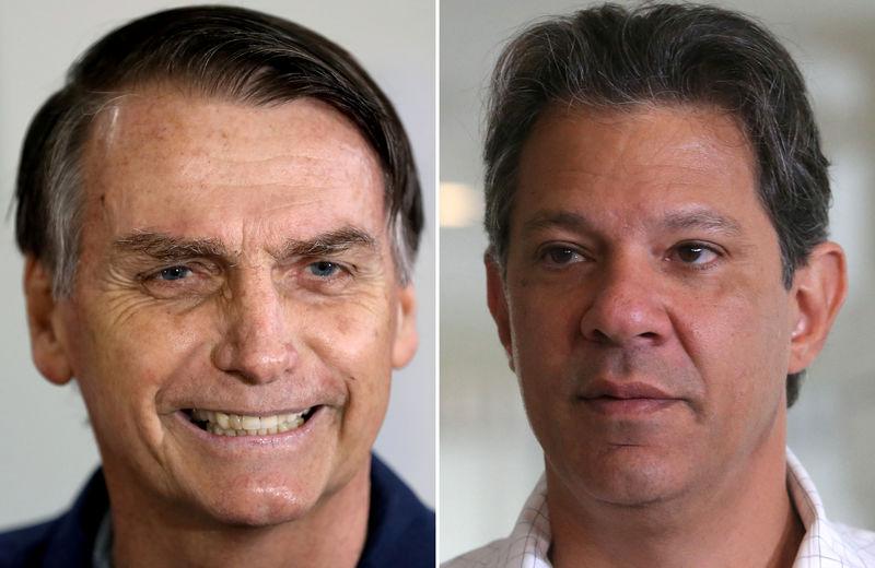 © Reuters. Candidatos à Presidência Jair Bolsonaro e Fernando Haddad