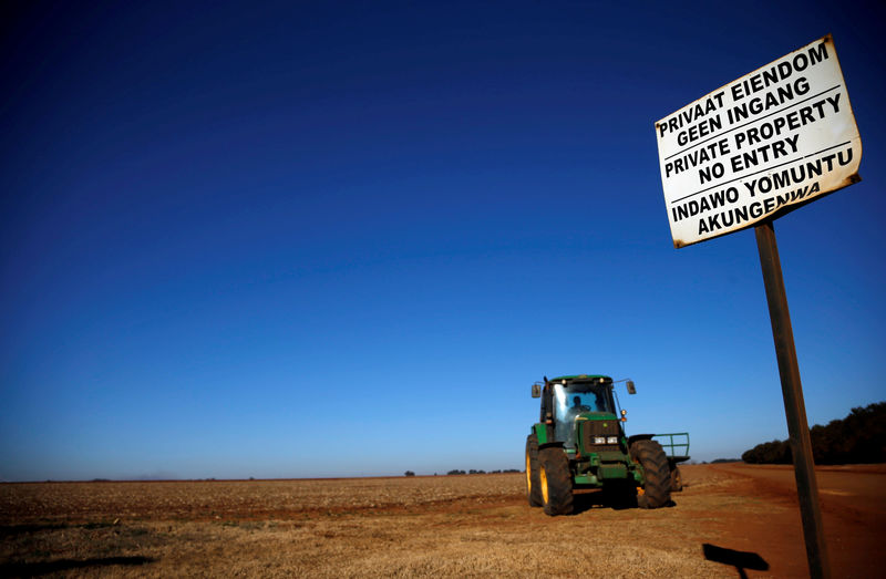 © Reuters. FILE PHOTO: A 'No entry sign' is seen at an entrance of a farm outside Witbank, Mpumalanga province