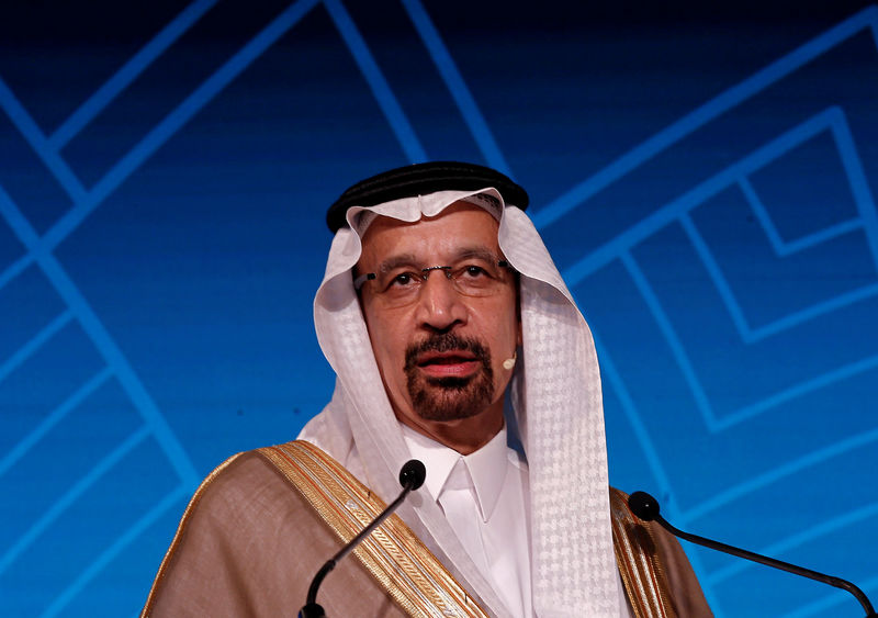 © Reuters. Saudi Energy Minister Khalid al-Falih addresses the gathering during India Energy Forum in New Delhi