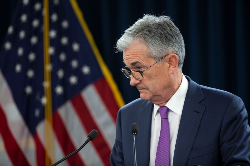 © Reuters. U.S. Federal Reserve Chairman Jerome Powell holds a news conference