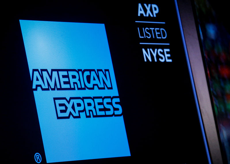 © Reuters. American Express logo and trading symbol are displayed on a screen at the NYSE in New York