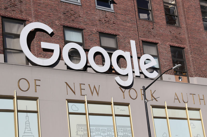 © Reuters. Google signage is seen at the Google headquarters in the Manhattan borough of New York City, New York
