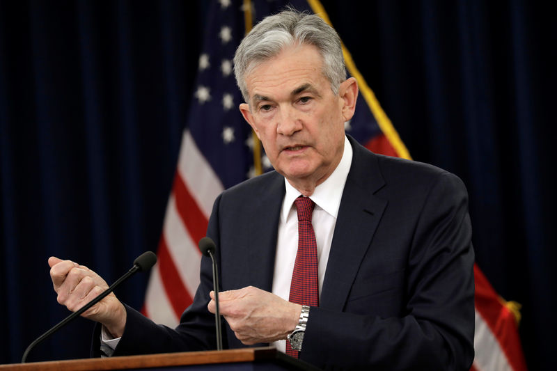 © Reuters. Federal Reserve Board Chairman Jerome Powell holds a news conference after a Federal Open Market Committee meeting in Washington