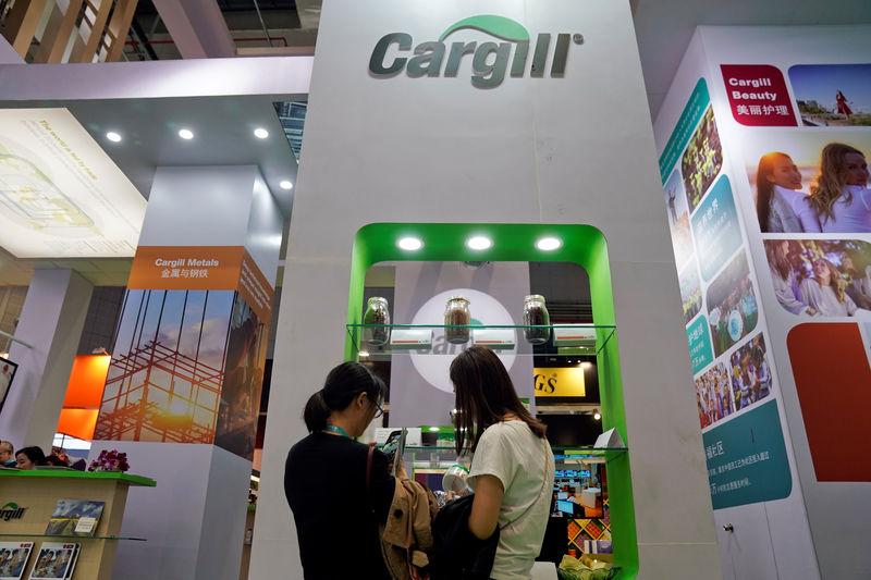 © Reuters. A Cargill sign is seen during the China International Import Expo (CIIE), at the National Exhibition and Convention Center in Shanghai