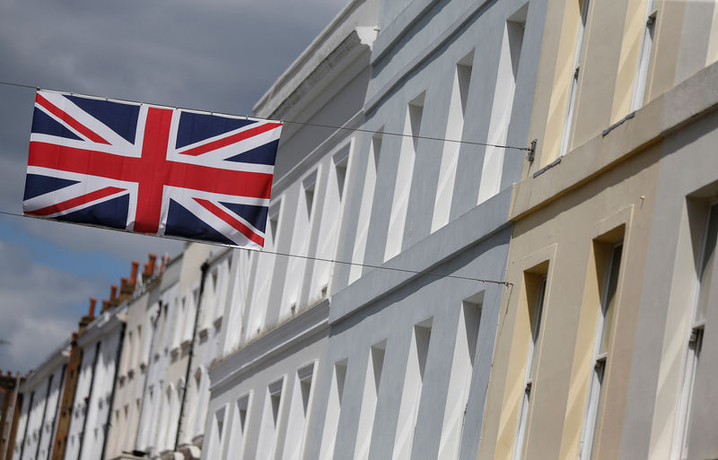 © Reuters. FILE PHOTO: A Union flag hangs across a street of houses in London