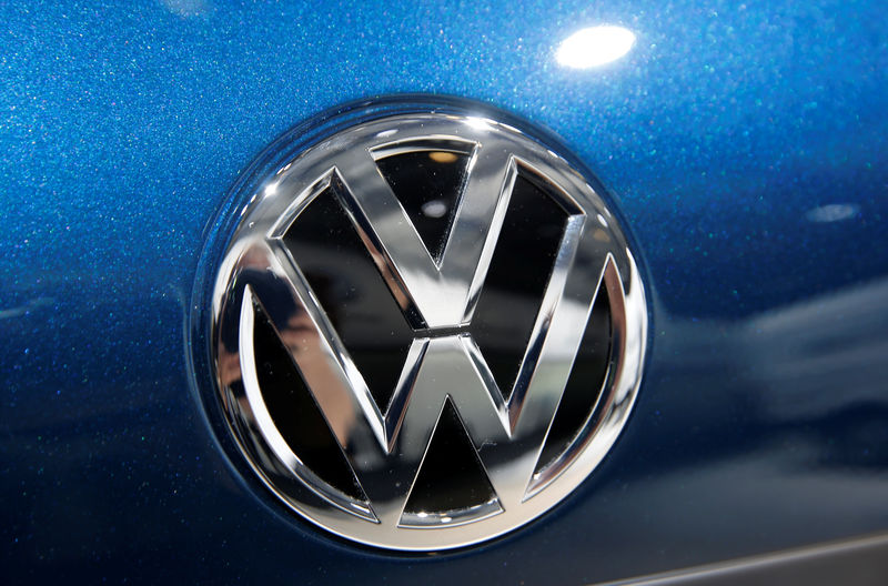 © Reuters. FILE PHOTO: A Volkswagen logo is pictured during the Volkswagen Group's annual general meeting in Berlin