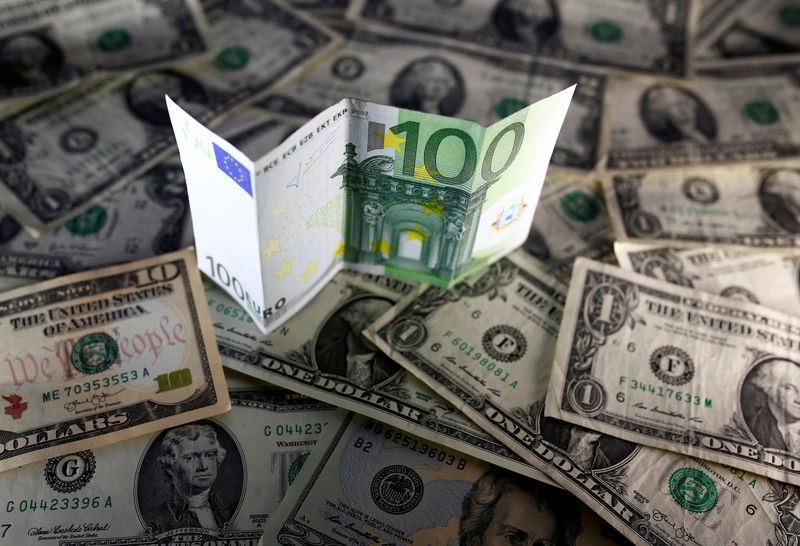 © Reuters. U.S. dollar and Euro notes are seen in this picture illustration