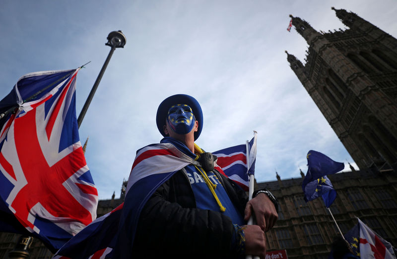 © Reuters. Pro-EU supporters hold flags outside the Houses of Parliament in Westminster London