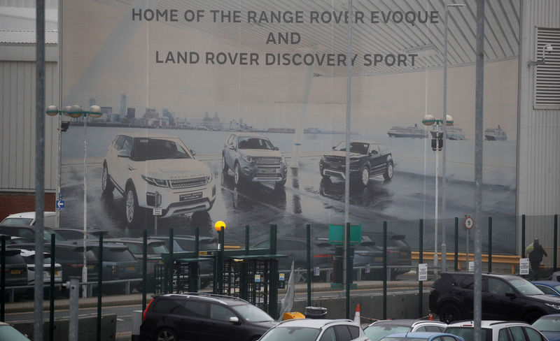 © Reuters. An entrance to Jaguar Landrover's Halewood Plant is seen in Liverpool