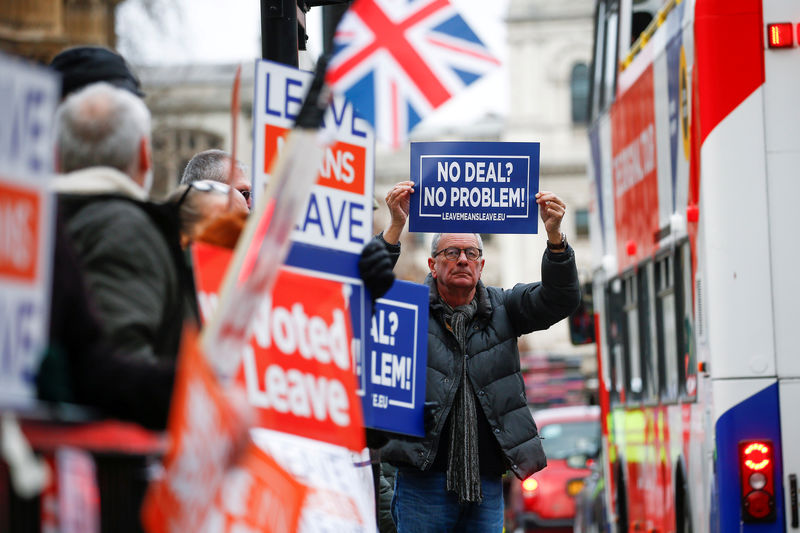 © Reuters. Pro-Brexit demonstrators hold signs outside the Houses of Parliament in London