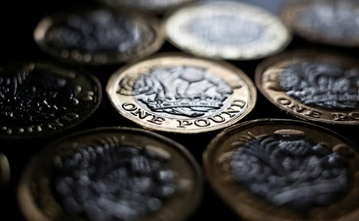 © Reuters. FILE PHOTO: Pound coins are seen in the photo illustration taken in Manchester, Britain