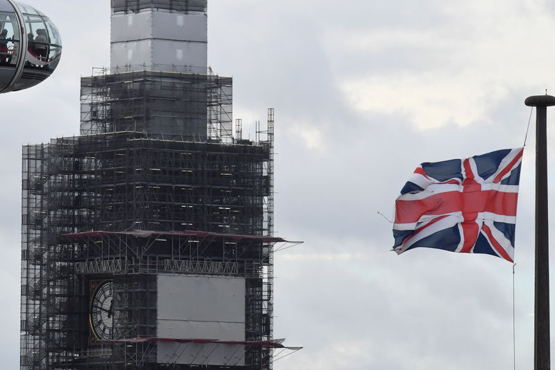 © Reuters. The London Eye, Union Flag and scaffolding are seen in central London