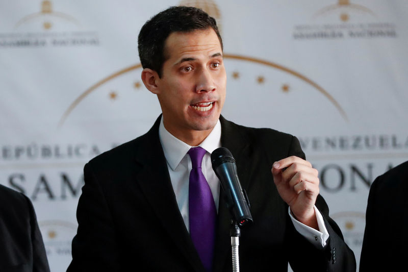 © Reuters. Juan Guaido, presidente da Assembleia Nacional da Venezuela, durante entrevista coletiva em Caracas