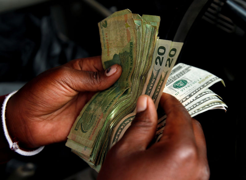 © Reuters. FILE PHOTO: An illegal money changer counts dollar notes in Harare