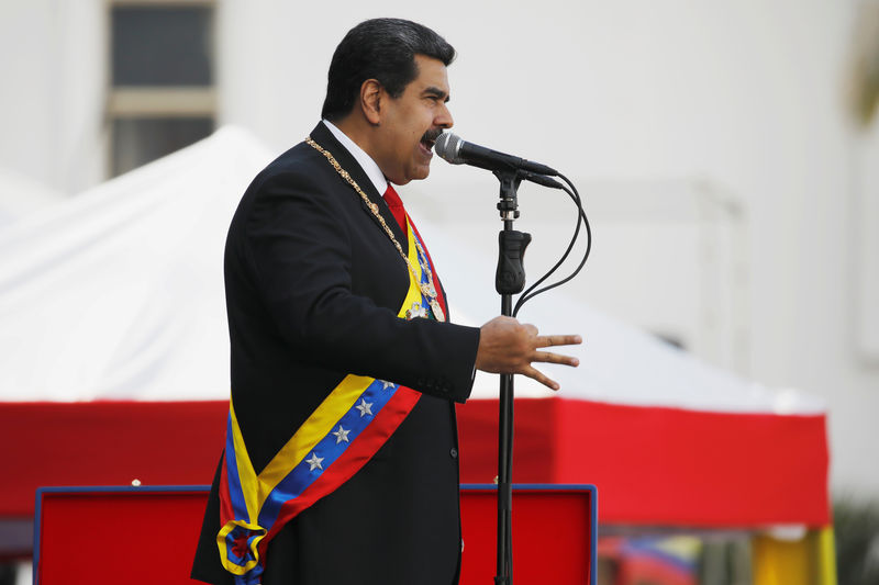 © Reuters. FILE PHOTO: Venezuelan President Nicolas Maduro speaks during a ceremony, after his swearing-in for a second presidential term, at Fuerte Tiuna military base in Caracas