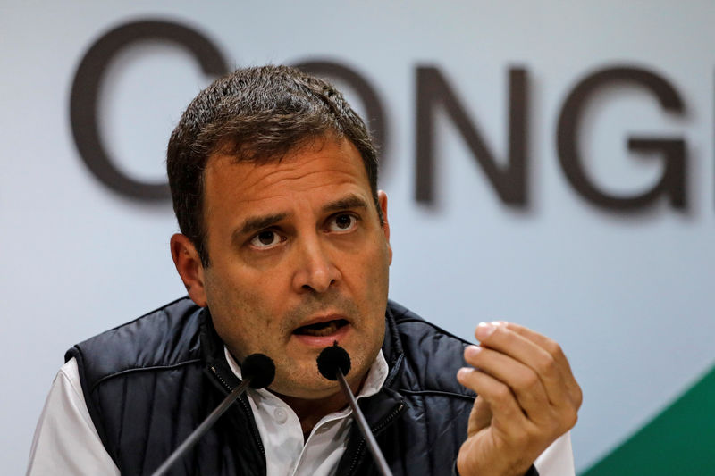 © Reuters. FILE PHOTO: Rahul Gandhi, President of India's main opposition Congress party, speaks during a news conference at his party's headquarters in New Delhi