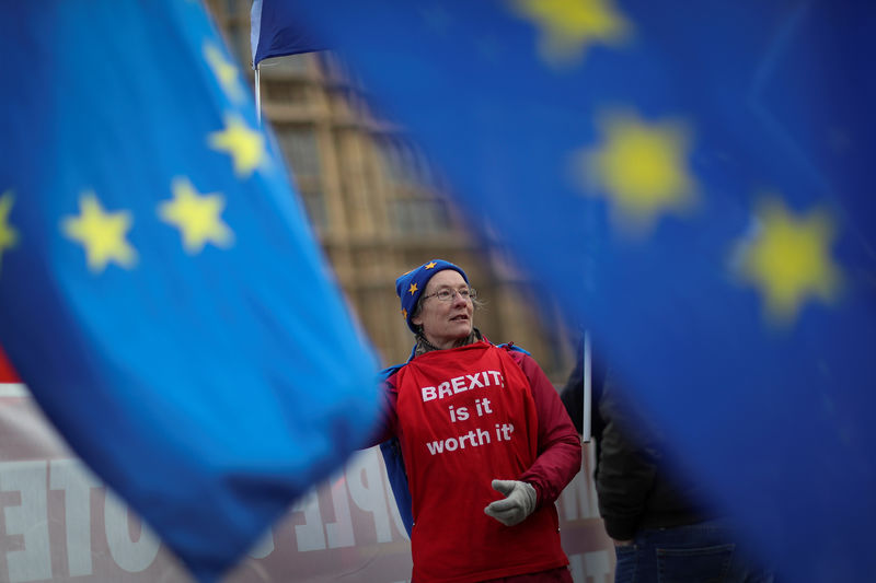 © Reuters. FILE PHOTO: An anti-Brexit protester waves a flag outside the Houses of Parliament  in London