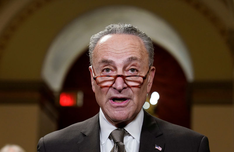 © Reuters. Senate Minority Leader Chuck Schumer (D-NY) speaks to the media ahead of a possible partial government shut down in Washington