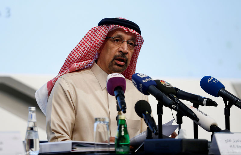 © Reuters. FILE PHOTO: Saudi Energy Minister Khalid al-Falih speaks during a news conference in Riyadh, Saudi Arabia