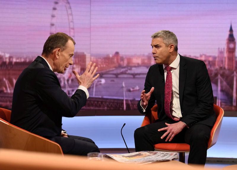 © Reuters. Britain's Brexit Secretary Stephen Barclay appears on the BBC's Andrew Marr Show, in London