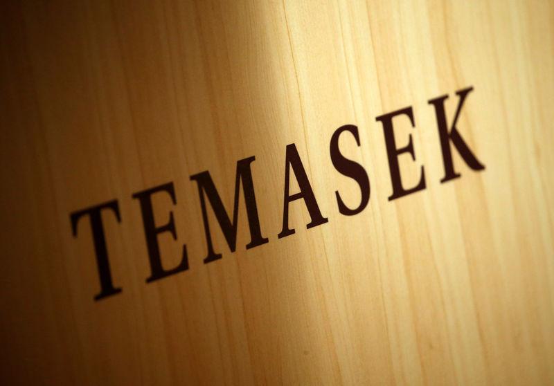 © Reuters. A Temasek logo is seen at the annual Temasek Review in Singapore