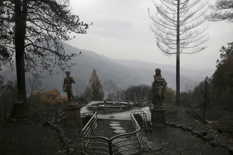 © Reuters. FILE PHOTO: Statues are seen on a property damaged by the Camp Fire in Paradise
