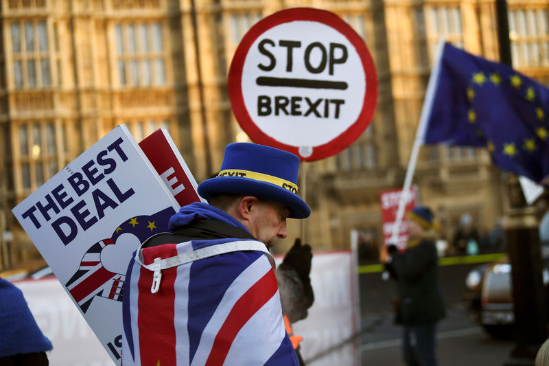 © Reuters. An anti-Brexit protester walks outside the Houses of Parliament in London