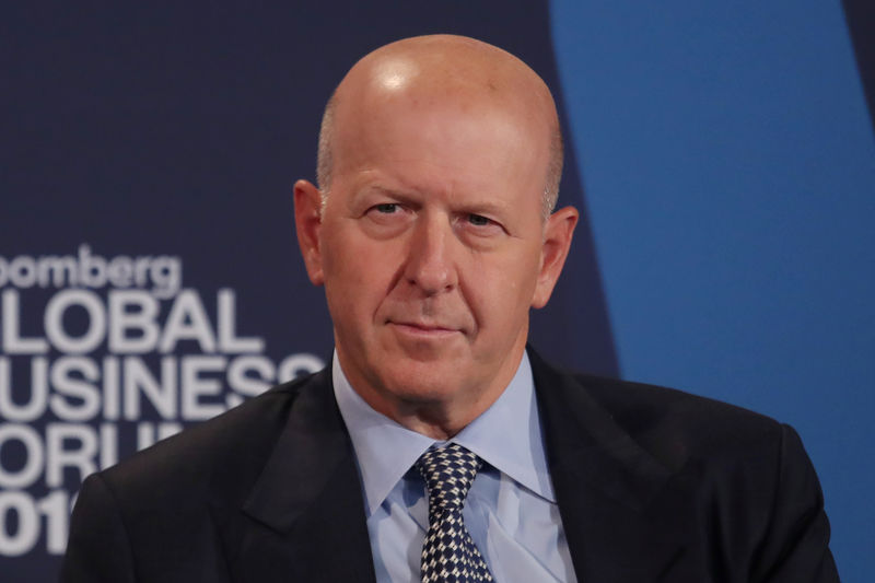 © Reuters. David Solomon, president and chief operating officer of Goldman Sachs, listens at the Bloomberg Global Business forum in New York