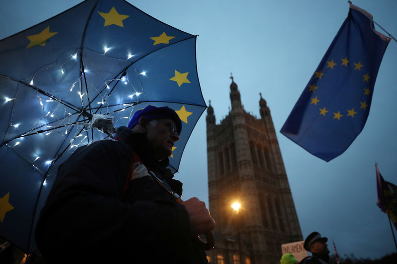 © Reuters. An anti-Brexit protester demonstrates outside the Houses of Parliament, in Westminster, London