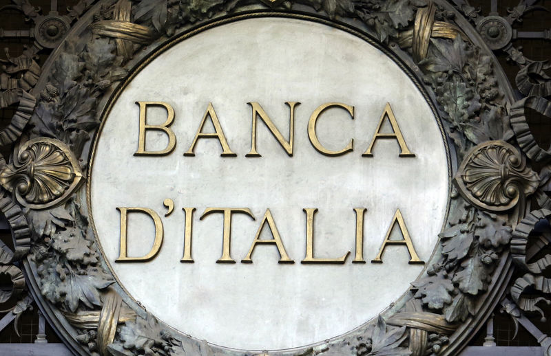 © Reuters. The Banca D'Italia logo is seen at the headquater in the downtown of Milan