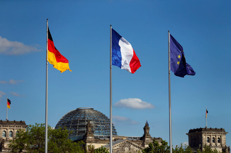 © Reuters. The flags of Germany, France and the European Union are seen in front of the the Chancellery, before the meeting between German Chancellor Angela Merkel and French President Emmanuel Macron in Berlin