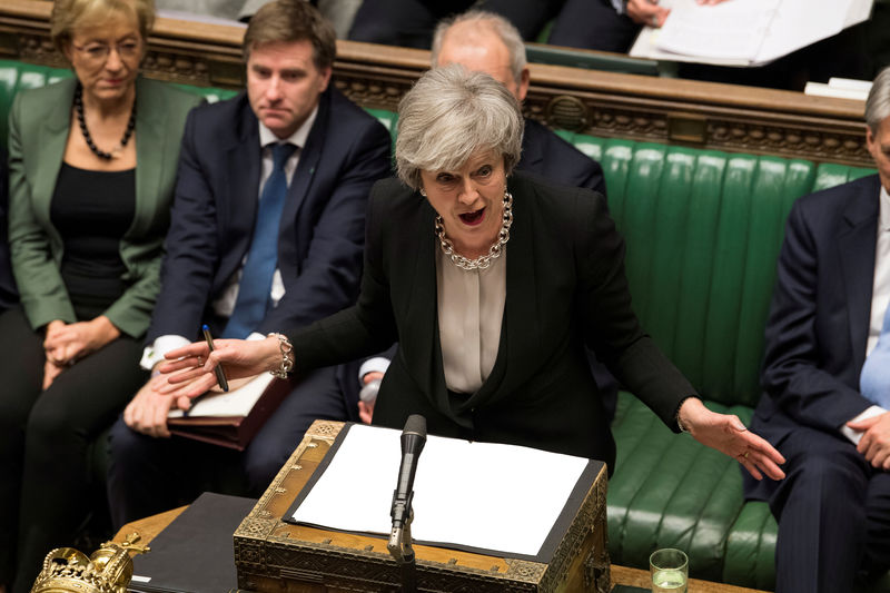© Reuters. FILE PHOTO: Britain's Prime Minister Theresa May speaks during a debate on her Brexit 'plan B' in Parliament