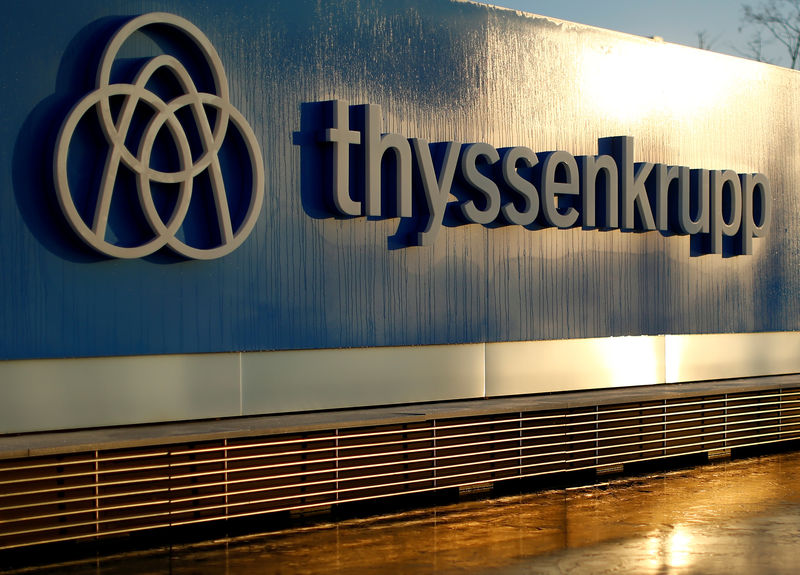 © Reuters. FILE PHOTO: A logo of Thyssenkrupp AG is pictured at the company's headquarters in Essen